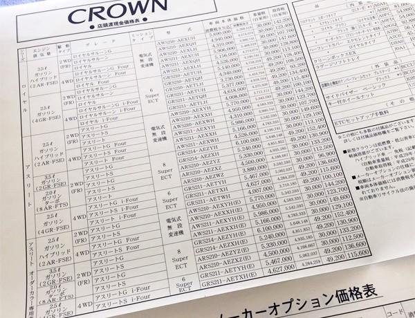 トヨタ・クラウン 価格表
